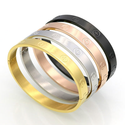 Fashion Women Men Cross Screw Bracelet Silver Rose Gold Black Titanium Steel Cross Open Cuff Bangles Bracelets Jewelry