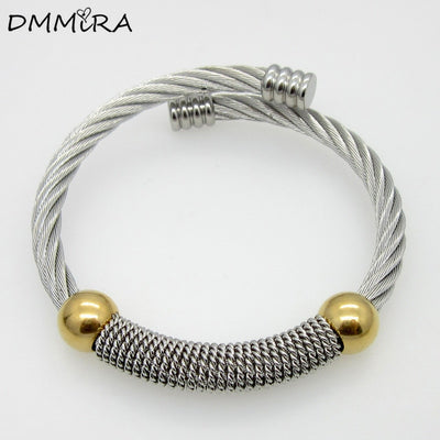 Fashion Women Twisted Thick Cable Wire Stainless Steel Silver Gold Clasp Adjustable Open Cable Wire Bangles Cuff Bracelets
