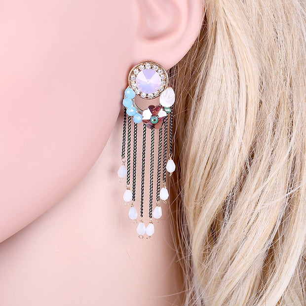 Fashion Women's Crystal With Chains Tassels Earrings Wedding Party Gift Golden Plated Girls Beads Flower Statement Drop Earrings