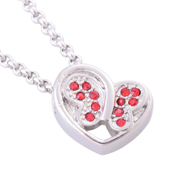 Fashion Women's Stainless Steel Red Stones Butterfly Heart Pendant Necklaces Cremation Jewelry Ash Urns Necklaces Memorial IR222