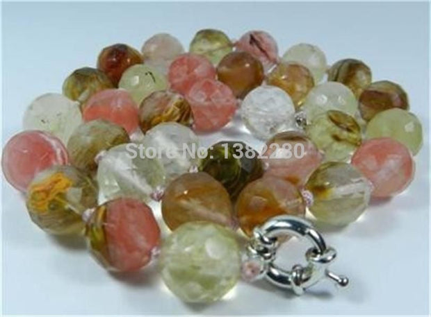 "! Fashion Beautiful 10mm Faceted Watermelon Tourmaline Necklace 18"" JT5122"