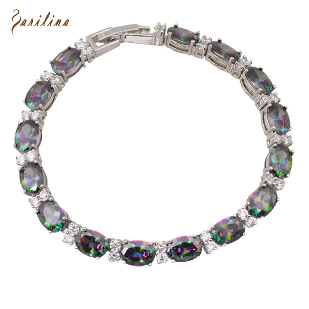 Fashion For Lady Bracelets & Bangles For Women Rainbow Mystic Cubic Zirconia Silver Fashion Jewelry 19.5cm 7.68 Inch B019