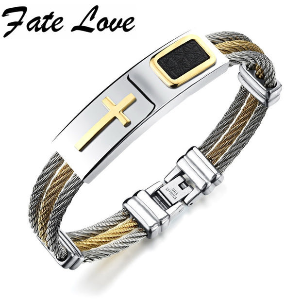 Fate Love Hot Classic Cross Bracelets & Bangles Stainless Steel 3 Layers Bangle Leather Cross Bracelet For Man Top Quality FL785