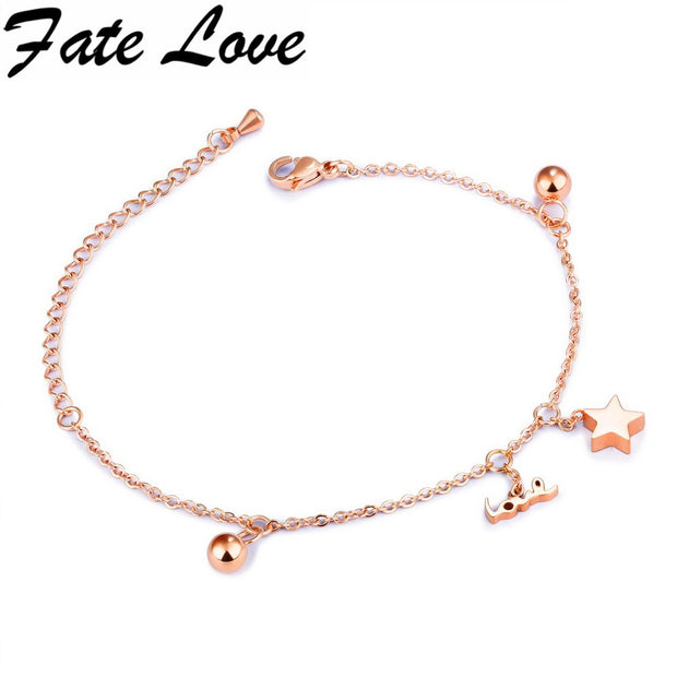 Fate Love Simple Star Chain Bracelet Korean Style For Woman Party Jewelry White/Rose Gold Color Small Ball Design Bracelet FL863