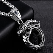 Fate Love Vintage Necklace Dragon Pendant Men Jewelry Collier Metal Stainless Steel Chain Big Necklaces Mens Jewellery Colar