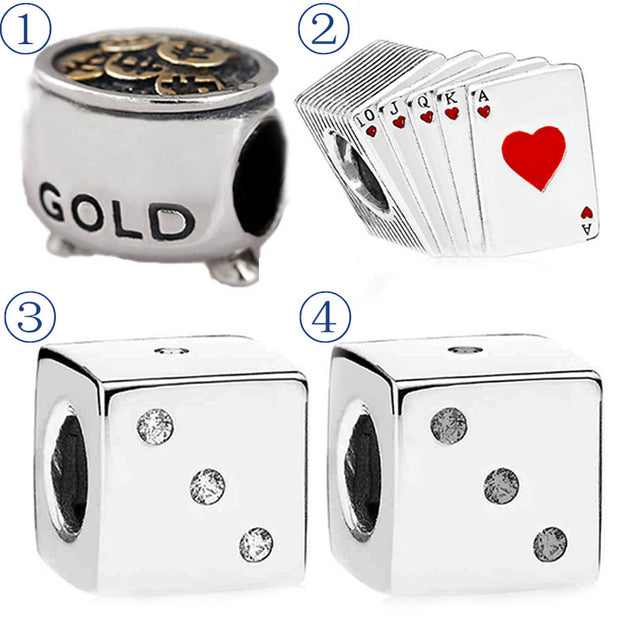 First Bucket Of Gold Royal Flush Playing Cards Square Lucky Dice Beads Fit Pandora Bracelet 925 Sterling Silver Charm Jewelry
