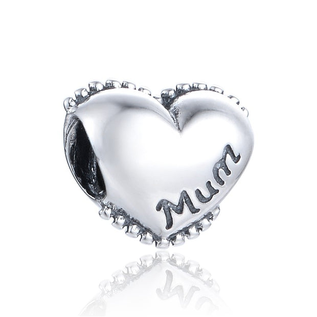 Fits Chamilia Charm Bracelet Sterling Silver Bead European Style Love Heat Mum Charm DIY Jewelry Findings Free Shipping