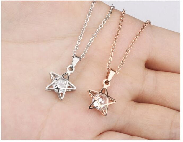 Five Star Design Pendant Necklaces For Woman Rose Color Inlay AAA CZ Stainless Steel Link Chain Women Jewelry Gift GX1008