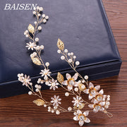 Floral Wedding Headband With Pearl Hairband Bride Hair Accessories Gold Women Wedding Headbands Flower Rhinestone Jewelry Tiaras