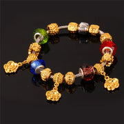 Flower Charms Bracelet Gold Color European Brand Bead Fashion Jewelry Wholesale Gift Bracelet For Women H624