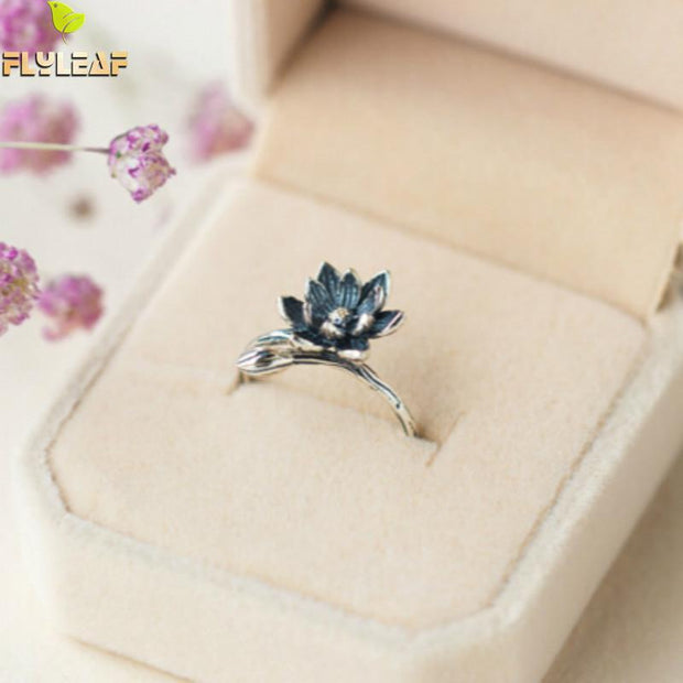 Flyleaf Brand 100% 925 Sterling Silver Lotus Flower Rings For Women Vintage Style Lady High Quality Jewelry
