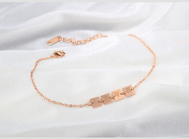 FntYcm Fashion Alphabet Rose Gold Women Anklets Foot Accessories Beach Accessories For Women Leg Bracelets For Women Z36