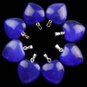 Free Shipping!(10Pcs/lot) Wholesale Dark Blue Cat Eye Stone Heart Pendant Bead 22x20x6mm SHX28