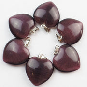 Free Shipping!(10Pcs/lot) Wholesale Dark Purple Cat Eye Stone Heart Pendant Bead 22x20x6mm SHX35