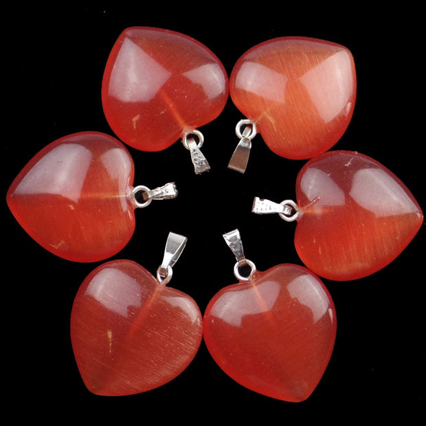 Free Shipping!(10Pcs/lot) Wholesale Red Cat Eye Stone Heart Pendant Bead 22x20x6mm SHX19