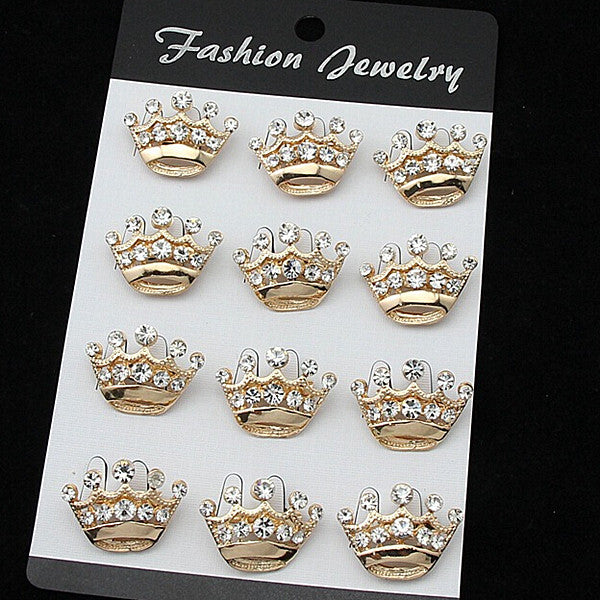 Free Shipping!!(12pcs/lot)Hot Sale Sparkle Crystal Rhinestone Mini Silver Crown Pin Brooches!!