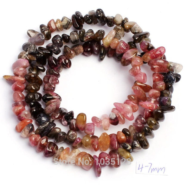 Free Shipping 4-6mm Natural Mixed Color Tourmaline Freeform Shape Stone DIY  Gems Loose Beads Strand 15
