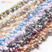 Free Shipping 5-7mm Freeform Baroque Freshwater Pearl Jewelry Making Bail Spacer Beads Strand 15""