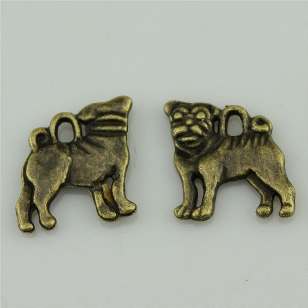 Free Shipping 60Pcs Dog Charms 16*15mm Antique Bronze Plated DIY Retro Jewelry Braclet Necklace