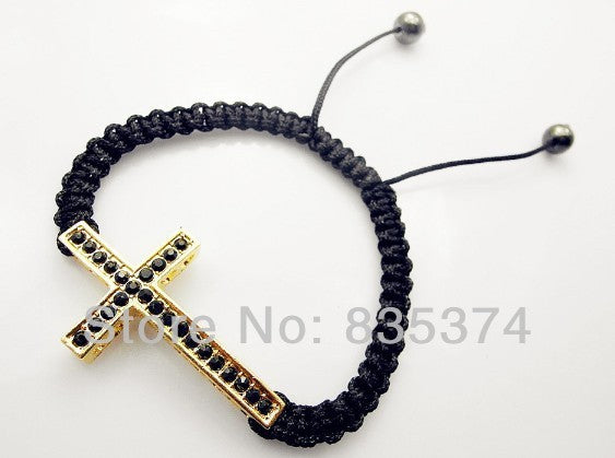 Free Shipping Fashion Cross Shambhala Bracelet, White Crystal Zinc Alloy Bracelet