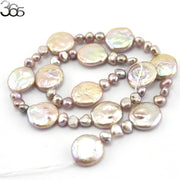 Free Shipping Jewelry DIY Making 14mm Coin Pearl &6-7mm Freeform Freshwater Pearl Beads Strand 15""