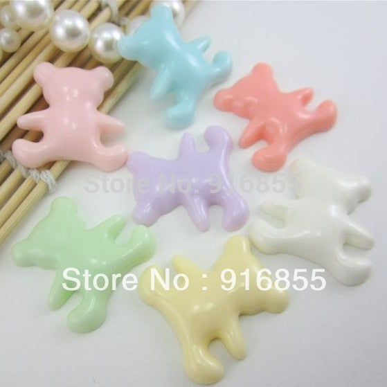 Free Shipping 20pcs/lot 27*20mm Mixed Color Very Hot And Kawaii Flat Back Resin Bear