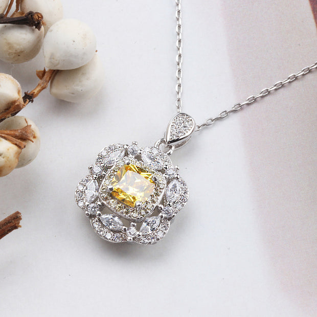 Free Shipping 925 Silver 6mm Cushion Stone Pendants Necklace FOR Women Elegant Dress Accessories Women's Pendants Necklace