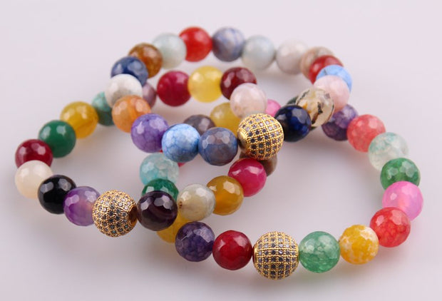 Free Shipping Micro Zircon Pave Ball 10mm Multicolor Natural Faceted Agat Beads Stone Bracelets One Drill Ball Yoga Bracelet