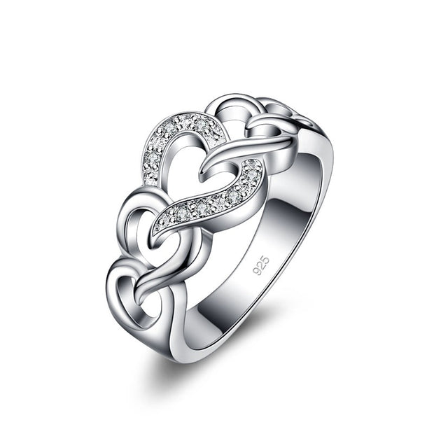 Free Shipping Fashionable Wide Silver Ring Solid 925 Silver Fashion For Women Silver Heart Ring Name Ring Jewelry Women
