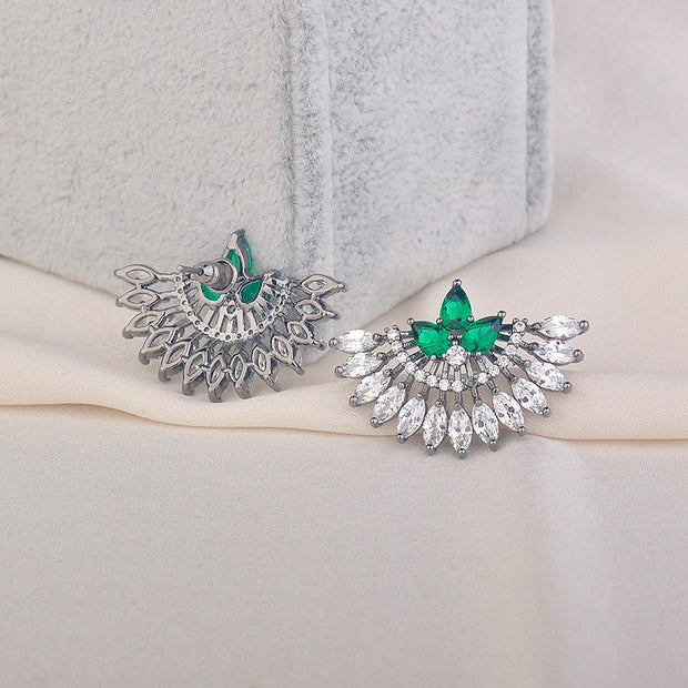 GAOLA 2017 New Arrival Silver Plated Pan Shape Green Zirconia Stud Earring Luxury Jewelry For Bridal Women GLE6350