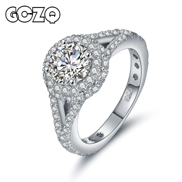 GCZQ Fine Jewelry 925 Sterling Silver Ring For Women Silver 925 Jewelry Cubic Zirconia Jewelry For Wedding Engagement Jewelry