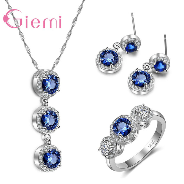 GIEMI New Arrival Blue Austrian Crystal Jewelry Set Original 925 Silver Pendant Necklace Dangle Push Back Earrings For Women Hot