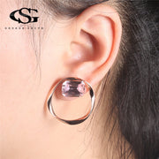 GS 2 Colors Fashion Stud Earrings For Women Rose Gold Black Flower Circle Female Earrings Pendientes Fashion Female Jewelry RGDG
