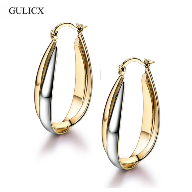 GULICX 2017 Exaggerate Large Fashion Earing For Women Gold-color Hoops Earrings Circle Twisted Earring Wedding Jewelry E406
