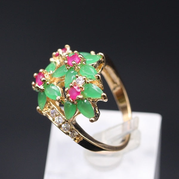 GZJY Exquisite Hollow Out Gold Color Red CZ Green AAA Cubic Zirconia Flowers Wedding Ring For Women G06-1