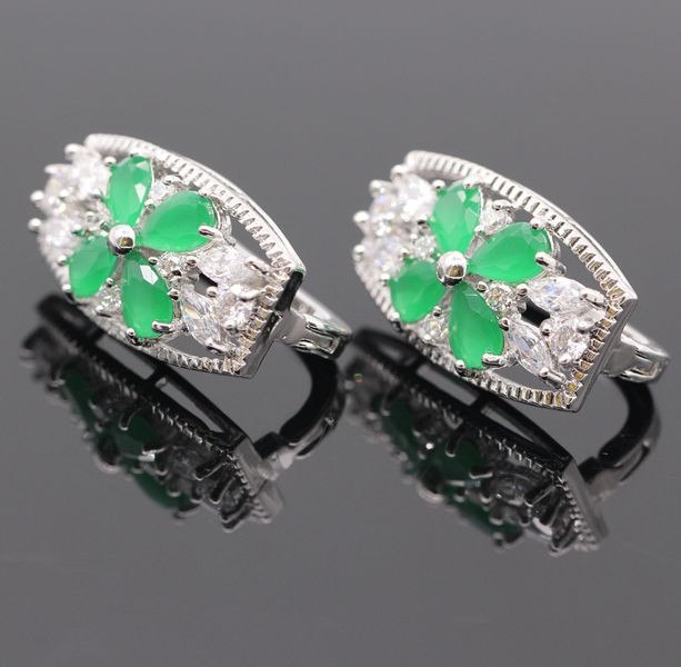 GZJY Fashion Flower Red&Green AAA Cubic Zirconia White Gold Color Earrings For Women Charms Ear Cuff Party Jewelry Gift