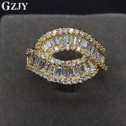 GZJY Fashion Jewelry Ring Champagne Gold Color Geometric Lines Two Layers Full AAA Cubic Zircon Wedding Ring For Women