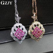 GZJY Fashion Red Crystal Cubic Zirconia Wedding Engagement Jewelry For Women Gold Color Pendant Necklace