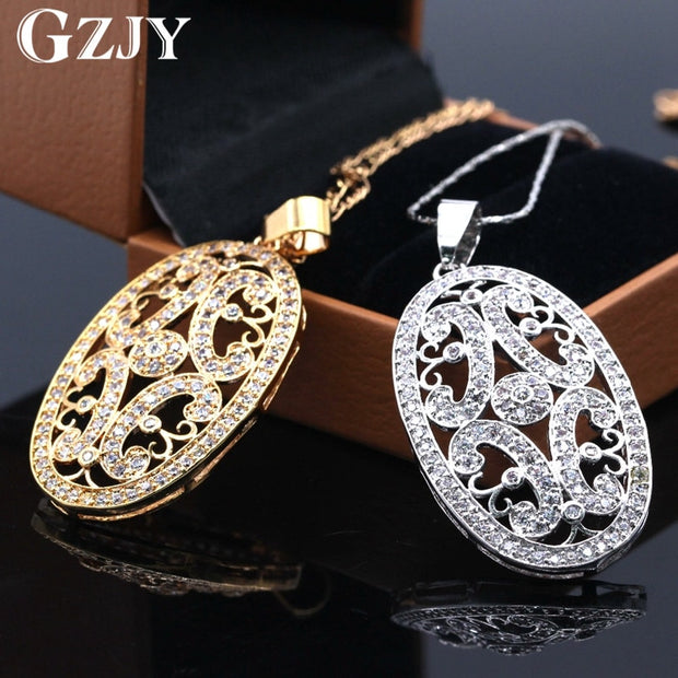 GZJY Jewelry Vintage Gold Color Pendant Paved Color Austrian Crystal Fashion Women Zircon Necklaces Birthday Gift