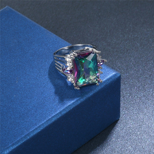 Garilina Wholesale Creative Big Mystic Rainbow Zircon Silver Ring Stone Fashion Ring Female R2293
