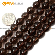 Gem-inside 4-20mm Natural Stone Beads Round Smoky Quartzs Beads For Jewelry Making Beads 15'' DIY Beads Jewellery Gift