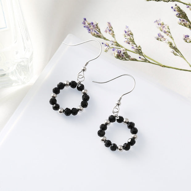 Gemei 100% 925 Sterling Silver Black Round Beads Circle Drop Earrings For Women Fashion Party Jewelry