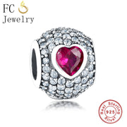 Genuine 925 Sterling Silver Pave CZ Red Love Crystal In Middle Charm Bead Fit Original Pandora Charm Bracelet Gift Berloque