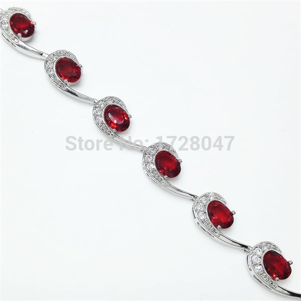Geometric Pure Handmade White Color Red Stone CZ Jewelry White White Gold Color Women Chain Bracelets Jewelry Free Shipping