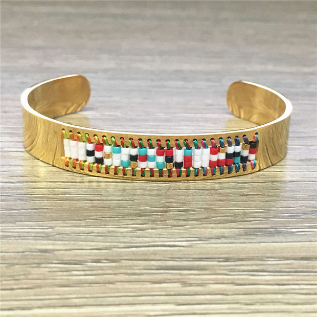 Go2boho Dropshipping Supplier BOHO Bangle Stainless Steel Bracelets MIYUKI Seed Beads Women Jewelry For Her Gift Cuff Bracelet