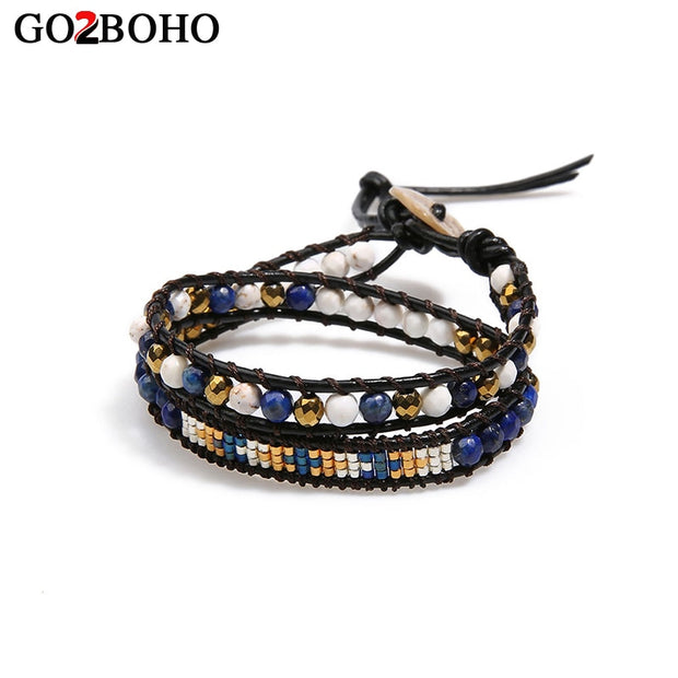 Go2boho Leather Rope Double Bracelets Bangles For Women Handmade Weave Beaded Bracelet Semi-precious Stones Charm Hand Jewelry