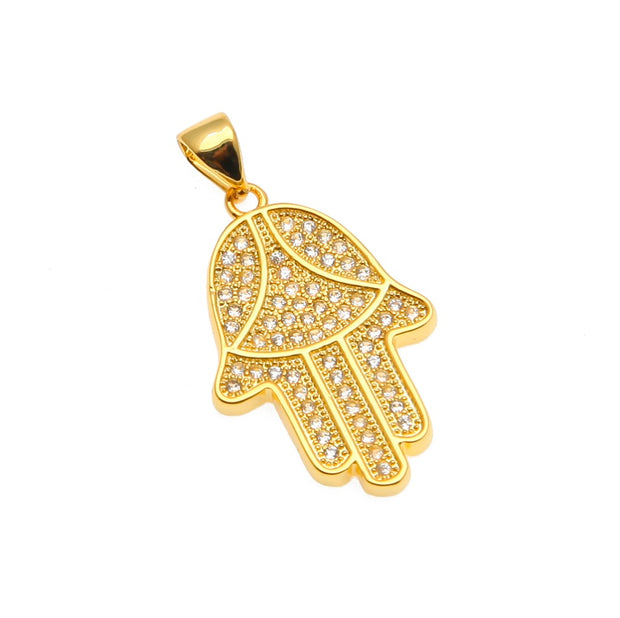 Gold Color Boho Hamsa Fatima Hand Digital Pendant Necklaces Adjustable Chain Fashion Women Chain Luck Hand Palm Necklace