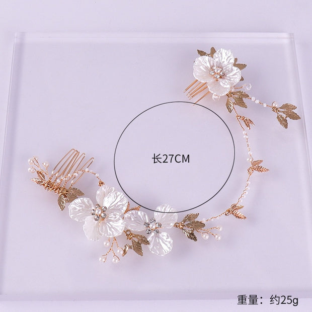 Gold Color Long Hair Combs Pearl Flower Handmade Handbands Leaf Crystal Wedding Hair Jewelry Bridal Hairbands Hair Ornament