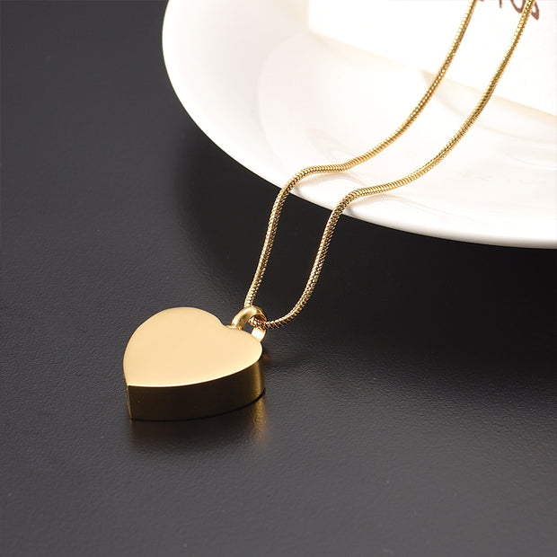 Gold Heart Urn For Pet/Human Ashes Keepsake Urns Free Carve Memorial Jewelry Hold Ashes Cremation Urn Necklace Jewelry