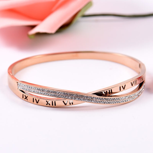 Gold Stainless Steel Elegant Ancient Roman Numerals Women OL Bracelet Dropshipped Bangle Trendy Rhinestone Fashion Jewelry